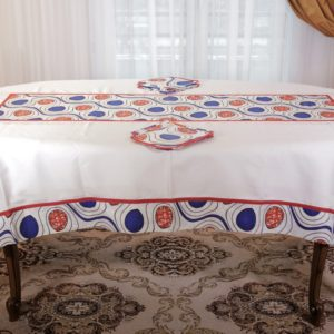 Nappe de table + 8 serviettes en coton wax
